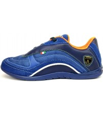 Lamborghini Race One Blue Orange Kids Leather Trainers Shoes