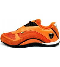 Lamborghini Race One Orange Black Kids Leather Trainers Shoes