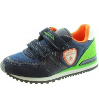 Lamborghini Run One Navy Orange Green Kids Velcro Suede Trainers