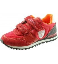 Lamborghini Run One Red White Grey Kids Velcro Suede Trainers