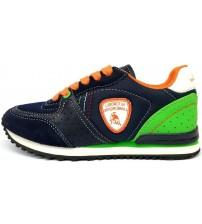 Lamborghini Run Two Navy Orange Green Kids Trainers Shoes
