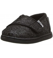 Toms Classic Black Glitter Tiny Canvas Shoes