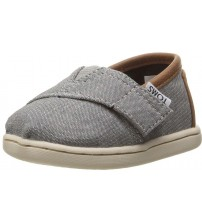 Toms Classic Grey Chambray Tan Tiny Canvas Shoes