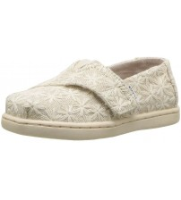 Toms Classic Natural Daisy Metallic Tiny Canvas Shoes