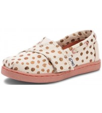 Toms Classic Rose Gold Dots Tiny Canvas Shoes