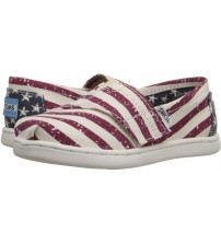 Toms Classic American Flag White Tiny Velcro Espadrilles Shoes