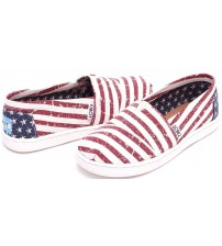 Toms Classic American Flag Youth Canvas Espadrilles Shoes Slipons