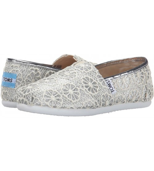 Toms Classic Silver Crochet Glitter Youth Espadrilles Shoes