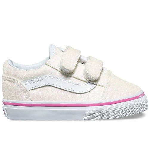 8b2f71c2d507 Vans Old Skool V Rainbow Glitter White Toddlers Trainers Shoes