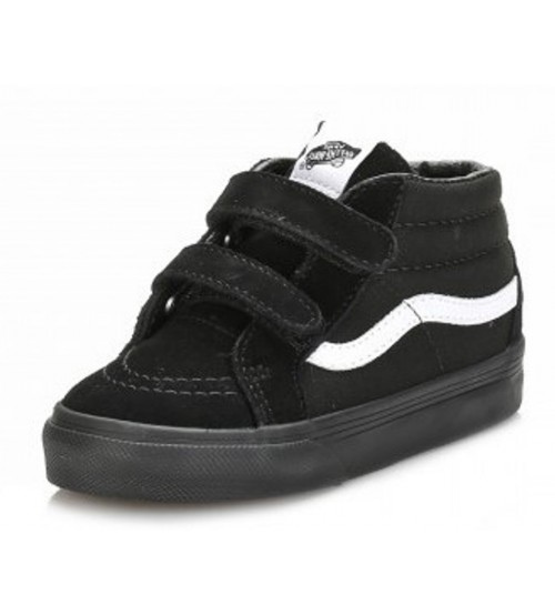 Vans SK8 Mid Black White Kids Suede Velcro Trainers Shoes