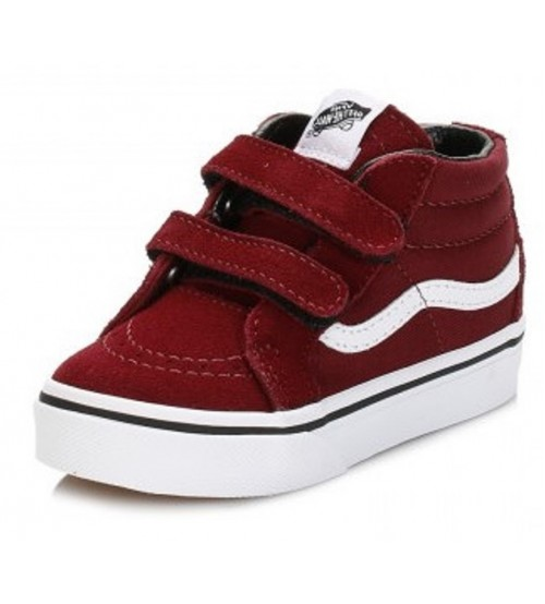 Vans SK8 Mid Maroon White Kids Suede Velcro Trainers Shoes