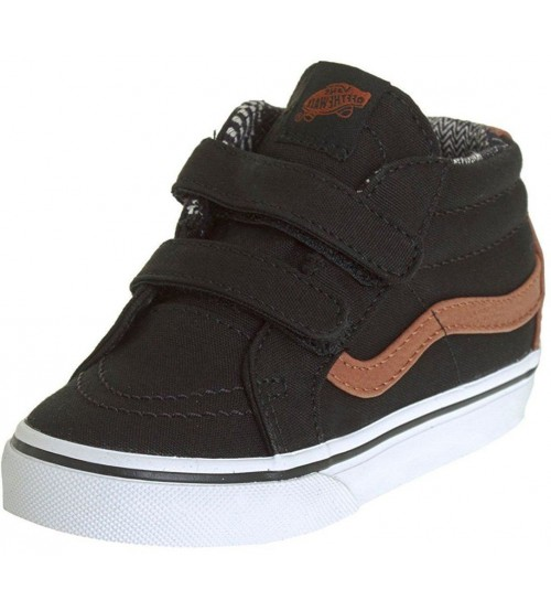 Vans SK8 Mid Reissue V Black Brown Kids Canvas Trainers Shoes