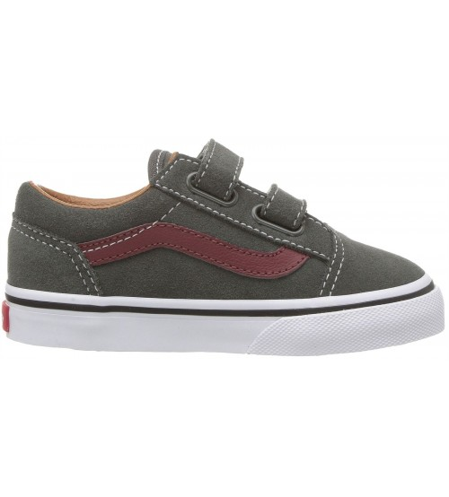 ce5b8e46b198fa Vans Old Skool V Charcoal Maroon Toddlers Suede Trainers