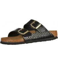 Birkenstock Arizona Shiny Snake Black Womens Leather Sandals Shoes