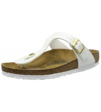 Birkenstock Gizeh White Womens Patent Leather Sandals Shoes
