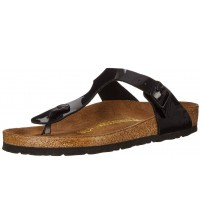 Birkenstock Gizeh Black Birko-Flor Patent Womens Leather Sandals