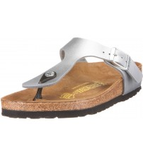 Birkenstock Gizeh Silver Birko-Flor Womens Leather Sandals