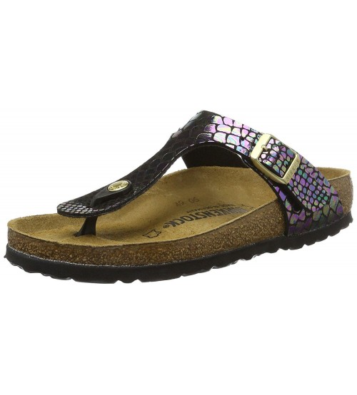 Birkenstock Gizeh Shiny Snake Black Multi Womens Leather Sandals Shoes