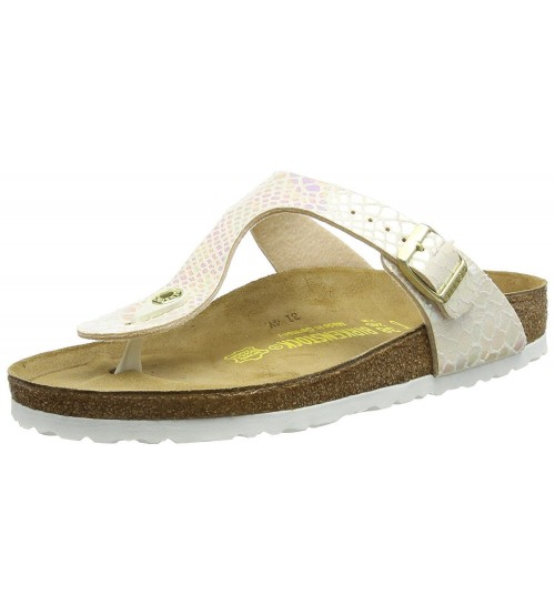 Birkenstock Gizeh Shiny Snake Cream Womens Leather Sandals Shoes