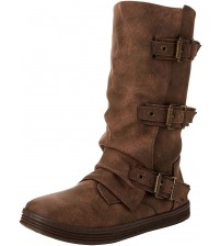 Blowfish Flynt Coffee 3 Strap Womens Mid Calf Boots
