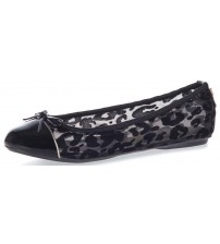 Butterfly Twists Olivia Black Flocked Leopard Womens Ballerinas Flats Shoes