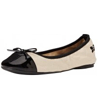 Butterfly Twists Olivia Cream Black Womens Ballerinas Flats Shoes