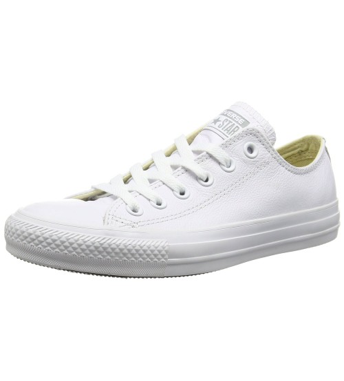 Converse Chuck Taylor All Star White Grey Lo Unisex Leather Trainers