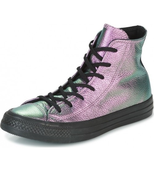 Converse Chuck Taylor All Star Purple Black Leather Womens Trainer 7753b8a27