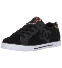 DC Chelsea SE Black Leopard Leather Womens Skate Trainers