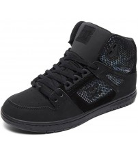 DC Pure High Top Black Silver Leather Womens Trainers