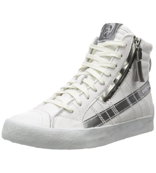 Diesel D Velows D String Plus White Womens Leather Hi Trainers