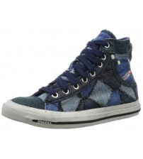 Diesel Exposure iv W Blue White Womens Canvas Trainers Boots