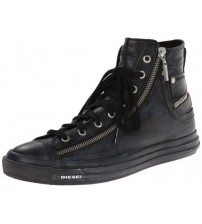 Diesel Expo Zip Black Womens Leather Hi Trainers Shoes
