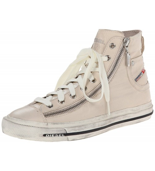Diesel Expo Zip Off White Womens Leather Hi Trainers Boots