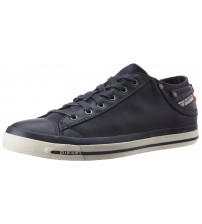 Diesel Exposure IV W Navy White Womens Leather Lo Trainers Shoes