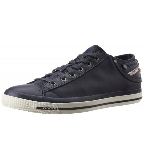 Diesel Exposure IV W Navy White Womens Leather Lo Trainers Shoes f0e136f108c