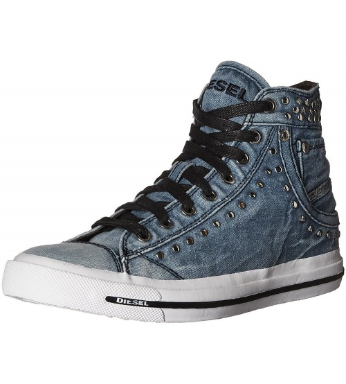 Diesel Exposure IV W Denim Silver Womens Hi Canvas Trainers Boots Boots
