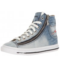 Diesel Expo Zip Denim White Womens Hi Trainers Boots