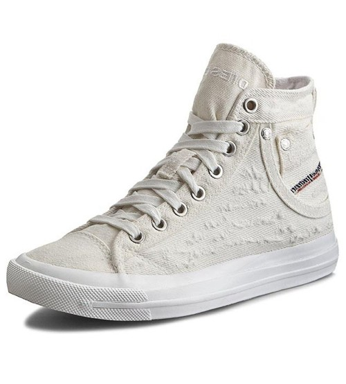 Diesel Exposure IV W White Womens Canvas Trainers Boots