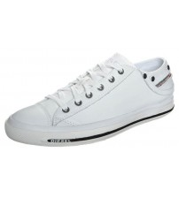 Diesel Exposure Low I White Black Leather Mens Trainers