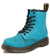 Dr Martens 1460 Delaney Blue Glitter Kids Zip Boots