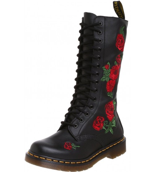 Dr Martens Vonda Black Red 14 eyelets Leather Womens Boot