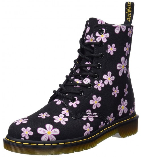 Dr Martens Page Meadow Black Meadow Flowers 8 eye Womens Canvas Boots