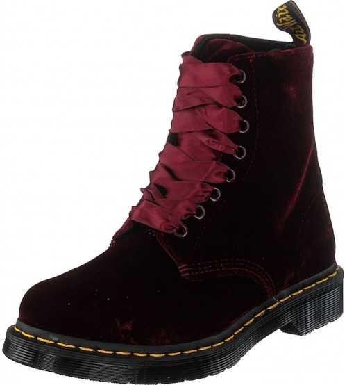 Dr Martens 1460 Pascal Cherry Red Velvet Womens Boots