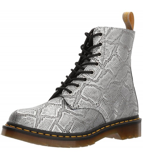 Dr Martens Pascal V Silver Metallic Snake 8 eye Womens Boots