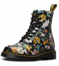 Dr Martens Pascal Black Floral 8 eye Womens Leather Boots