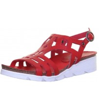 Felmini 8986 Red White Leather Womens Wedge Sandals Shoes