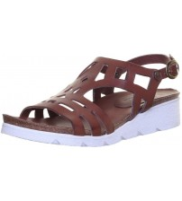 Felmini 8986 Tan White Leather Womens Wedge Sandals Shoes