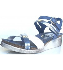 Felmini 8987 Blue Silver White Leather Womens Wedge Sandals Shoes