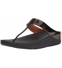 Fitflop Fino Crystal Black Womens Leather Sandals Flip Flops